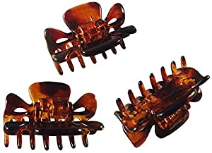 Parcelona French Classic Tortoise Shell Brown Very Small Approx 1 1/2 Inch Hair Claws with Covered Spring - 3 Pieces