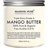 Majestic Pure Raw Mango Butter, Organic Premium Grade for Soft Supple Skin and Healthy Hair, 8 oz