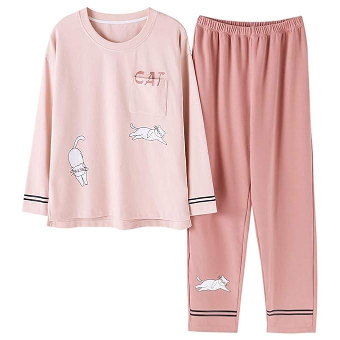 Mmllse Lindo Gato De Bolsillo Conjuntos De Pijama Pijamas De Las Mujeres Ropa De Algodón Casual De Manga Larga Dormir Ropa De Dormir Ropa De Casa Vestido De ...