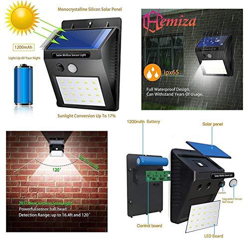 HEMIZA ZT Solar, Wireless Waterproof 20 LED Bright Outdoor Security Night Light with Motion Sensor (Medium, Black)