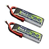 BBR 2Pack 7.4V 2S 50C 2200mAh LiPo Battery with Deans TPlug for Revo - Fiesta - Boss 302 Mustang - Traxxas TRX-4 All Traxxas RC Cars