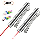 Cat Chaser Toys (2 pack), 2 in 1 Multi Function Funny Cat Teaser Wand for Training and Exercise, Interactive LED Light and Red Light with 2 Mouse Toys