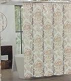 Tahari Luxury Cotton Blend Shower Curtain Cream red Taupe Large Cognac Damask AJ PEVA Shower Curtain Liner 70 x 72 inch