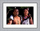 New Zealand, North Island, Maori culture and costume by Bill Bachmann / Danita Delimont Framed Art Print Wall Picture, Flat Silver Frame, 26 x 20 inches