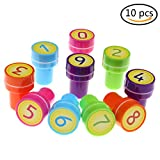 10 number stamps - 10 Pcs Plastic Stamps for Kids Multi Colour Self inking Stamps Assorted Fun Stamp Kit for Children £¨Number£