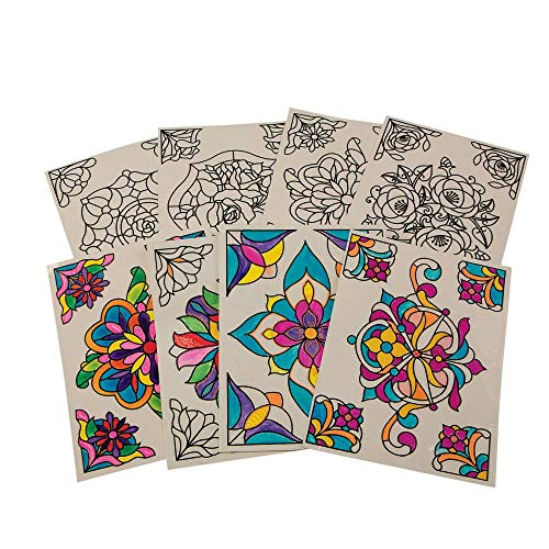 S&S Worldwide CF-13531 Color-Your-Own Stained Glass Window Clings (Pack of 24)
