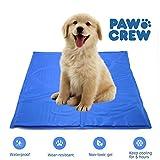 PAWCREW Comfortable Large Cooling Mat For Dogs/Cats, Self Cooling Gel Mat, Travel Indoor & Outdoor Pet Mat, Non-Toxic Dog Mat, Floor Bed Car Sofa Etc, Blue (M-L: 20'' x 24'')