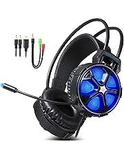 EasySMX Micro Casque Gaming PS4, Casque PC Ultraléger avec Son Stéréo Bass Bien Anti-Bruit et 3.5mm Connecteur, Casque Gamer Compatible avec PC/PS4/Xbox One/Laptop/Tablette/Smartphone (Bleu)