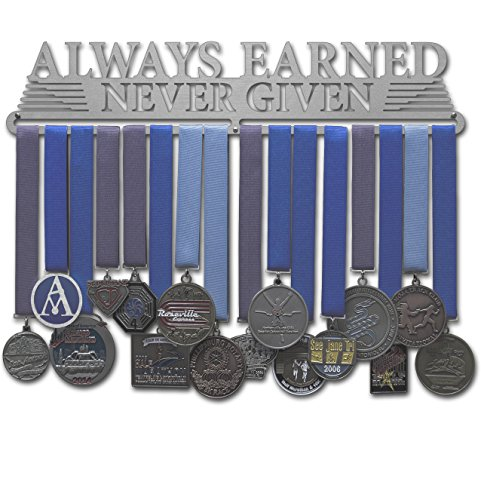 "Allied Medal Hanger - Always Earned Never Given (compact) - 18"" wide with 1 hang bar"