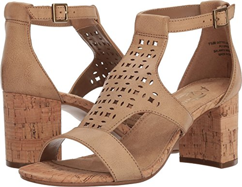 - Aerosoles New A2 by Women's Dotted Line Heel Sandal Dark Tan 9.5