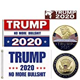 Trump 2020 Gift Bundle - 2 Flags 3x5, Gold Coin 2020 Keep America Great No More Bull BS Re Elect President Donald USA