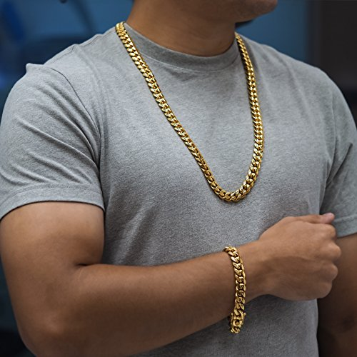 Premium 14KT Gold Plated Stainless Steel Heavy Solid Miami Cuban Link Chain. Secure Box Lock. 30'' Necklace or 8.5'', 9'' Bracelet by Sterling Manufacturers (Image #3)