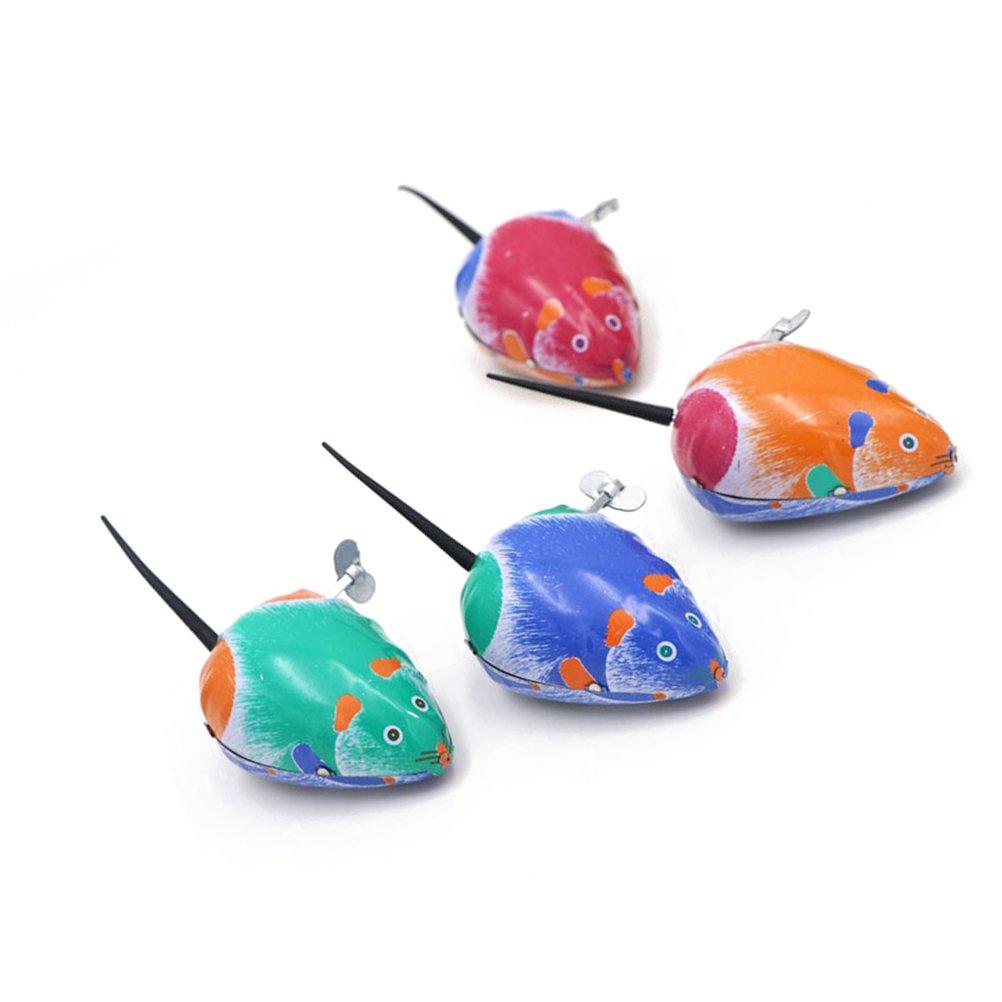 STOBOK 5 Stücke Aufziehmaus Aufziehspielzeug Aufziehfigur Spielmaus Blechspielzeug Wind Up Figur Uhrwerk Spielzeug Weihnachten Geschenk für Baby Kinder Katzenspielzeug (Zufällige Farbe)