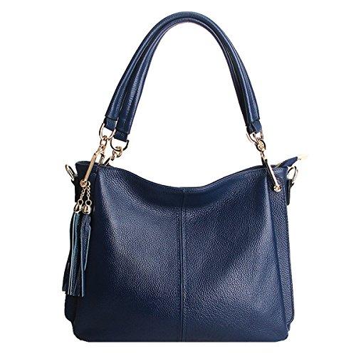 DISSA Sac main bandoulière LF femme portés épaule fashion en Sac 1818 à cuir Bleu Sac rZrwgpq7n
