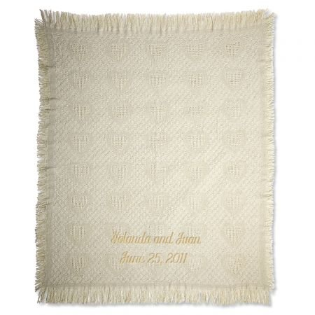 Personalized Gold Honeycomb Heart Cotton Throw (Vernon Throw)