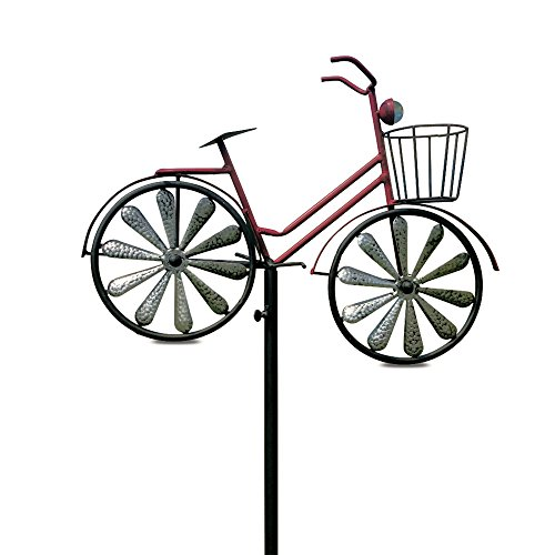 Garden Bicycle (Whole House Worlds The Americana Red Bike Garden Stake with Spinning Wheels, Front Basket, Vintage Style Details, Outdoor Decoration, Rustic Red with Antiqued Finish, Over 4 Feet Tall (52 Inches))