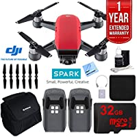 DJI SPARK Intelligent Quadcopter Drone Essentials Bundle (Lava Red) With DJI Spare Battery, Cleaning Kit, 32GB High Speed Card, Custom Case And One Year Warranty Extension