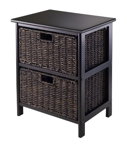 Winsome Omaha Storage/Organization, 2 Baskets, Black/Chocolate