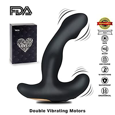 YICO Bendable Vibrating Prostate Massager, Dual Motor USB Rechargeable Silicone Anal Sex Toys, 12 Modes Vibrating Butt Plug G Spot Vibrator , Perfect for Men Women and Couples