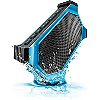 ECOXGEAR EcoSlate Rugged and Waterproof Wireless Bluetooth Speaker (Blue) with Carabiner and Car Adapter and LED Flashlight with 3 Levels / Integrated Siri Voice Control for Iphone IPAd Ipod Touch