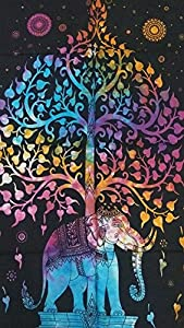 Heyrumbh Handicrafts Bohemian Hippie Tie Dye Multi Colour Tree on Elephant Tapestry Cotton Printed Wall Hanging Poster (40 X 30 inches)
