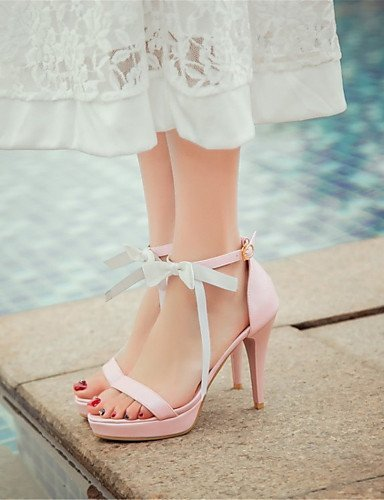 ShangYi Womens Shoes Leatherette Stiletto Heel Heels Sandals Office & Career / Party & Evening / Dress Pink / White Pink