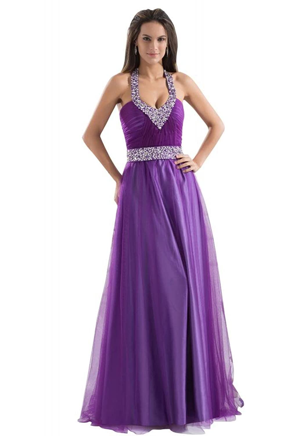 GEORGE BRIDE Purple Charming Halter Beaded Waist Long Evening Dress