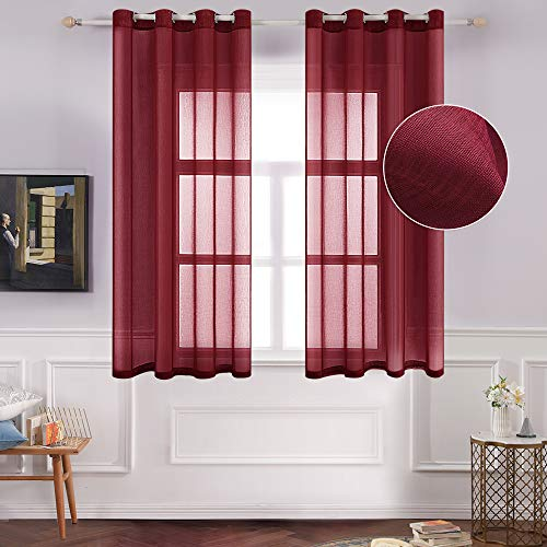MIULEE 2 Panels Red Semi Sheer Window Curtains Elegant Decoration Grommet Top Window Voile Panels/Drapes/Treatment Linen Textured Panels for Bedroom Living Room (54X63 Inches) (Voile Panels Red)