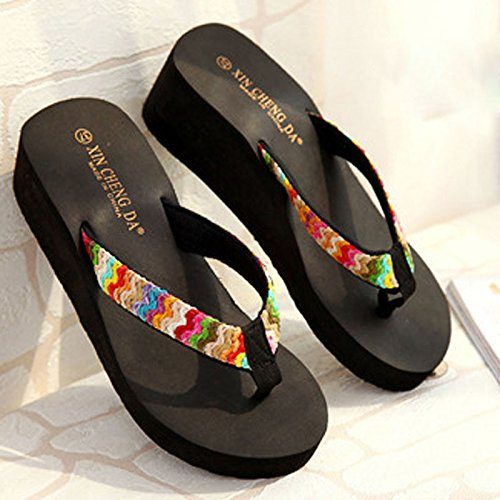 ℱLOVESOℱ Floral Ribbon Satin High Heel Beach Sandals Wedge Platform Thongs Slippers Flip Flops Summer Black by ℱLOVESOℱ (Image #3)