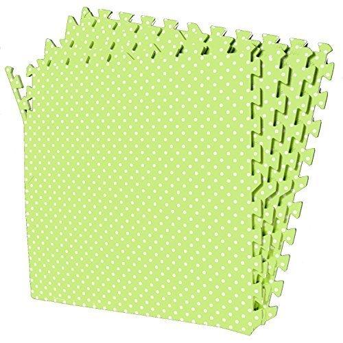 POCO DIVO Polka Dot Green Playmat 16-SQFT Exercise Mat 4-Tile Interlocking EVA Foam Floor with 8-Border
