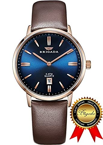BRIGADA Swiss Watches for Men, Business Casual Waterproof Mens Watch, Great Gift for Someone or Yourself (Swiss Mens Classic)