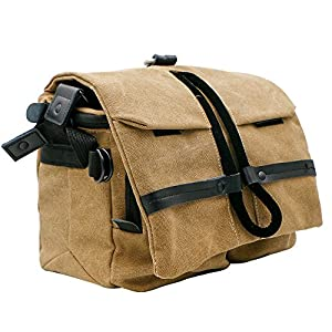 Waterproof Canvas DSLR Camera Shoulder Bag, Bukm SLR Camera Bag Messenger Bag Gadget Bag with Shockproof Insert, Rain Cover, Camera Neck Strap for Digital Cameras, Lens, Flash, Battery, Charger
