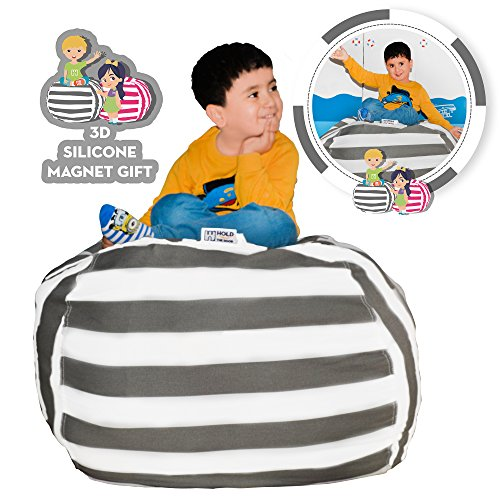 Hold The Door EXTRA LARGE Stuffed Animal Storage Bean Bag Chair - Toy Organizer & Comfy Chair - Perfect Storage Solution for Plush Toys, Blankets, Towels & Clothes - (Grey (Comfy Bean Bean Bag)