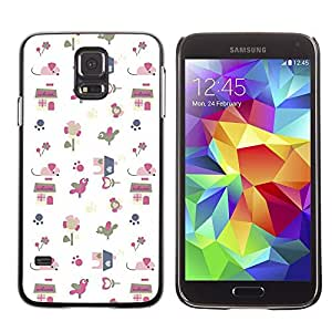 LECELL--Funda protectora / Cubierta / Piel For Samsung Galaxy S5 SM-G900 -- Gift Paper White Pattern Cute Drawing --