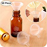 60 Piece Mini Funnels, Carnatory Clear Plastic Funnels Transparent Funnels for Bottle Filling Perfumes Essential Oils Science Laboratory Chemicals Arts and Crafts Supplies