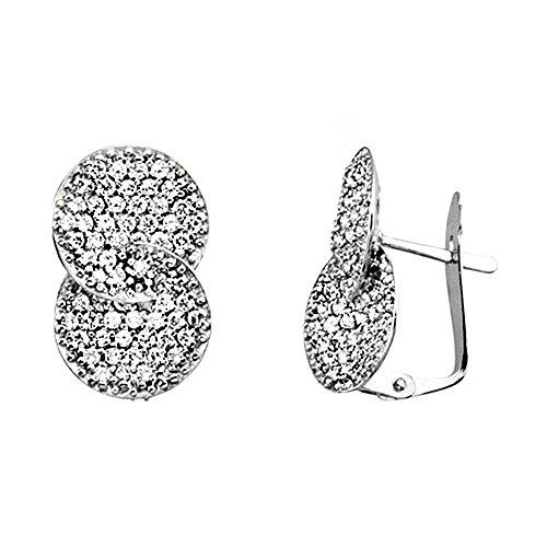Boucled'oreille 18k cercles de zircone traversé cubes blancs d'or [AA6390]