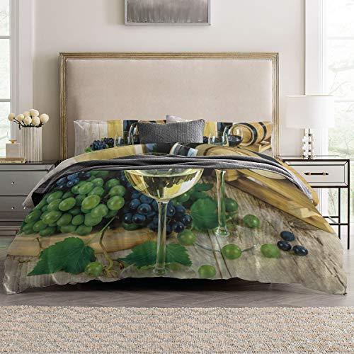 - Duvet Cover Sets - Liqueur Wine Glass and Fruit 4 Piece King Bedding Sets Soft Microfiber Bedspread Comforter Cover and Pillow Shams for Adult/Children/Teens
