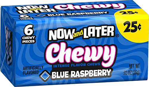 Now & Later Soft Taffy Chews Candy, Blue Raspberry, 0.93 Ounce Bar, Pack of 24