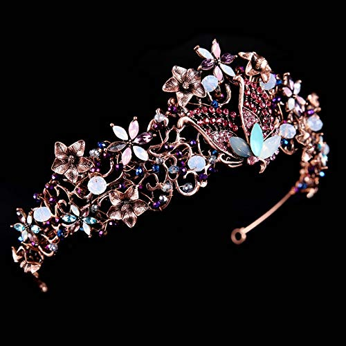 Gift Retro Baroque Wedding Party Crown Tiara Diadem Crown Tiara Crown Earrings Hair Accessories Luxury Crystal Bridal Headdress ()