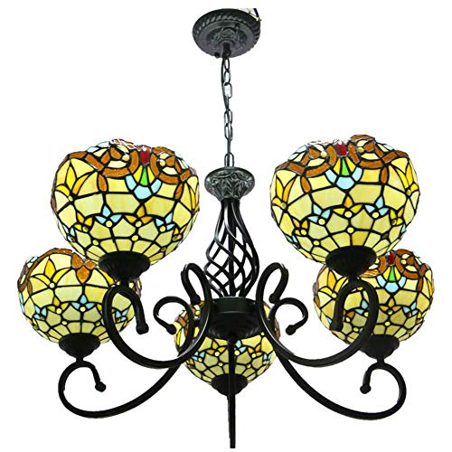 Tiffany Style Chandelier, Euro Retro Wrought Iron Baroque Ceiling Lamp, Bedroom Dining Room Living Room Showroom Chandelier, 8 Inch, E27