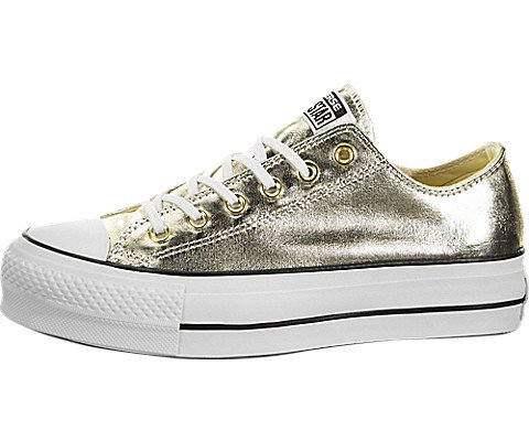 Converse Womens Chuck Taylor All Star Lift Low Top Gold/Black/White Sneaker - (Low Converse Shoes)