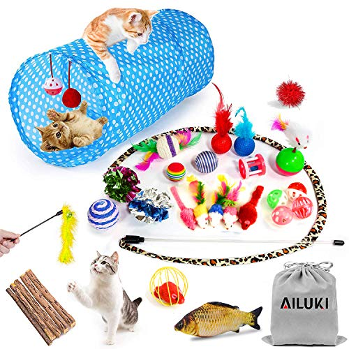 AILUKI 26PCS Cat Toys Kitten Toys Assortments, Variety Catnip Toy Set Including 2 Way Tunnel,Cat Feather Teaser,Catnip Fish,Mice,Colorful Balls and Bells for Cat,Puppy,Kitty (Kitten Cat Toy)