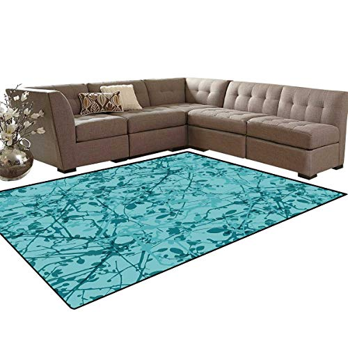 - Teal Bath Mat 3D Digital Printing Mat Ink Drawing Inspired Intertwined Tree Branches Buds and Leaves in Abstract Design Extra Large Area Rug 6'6