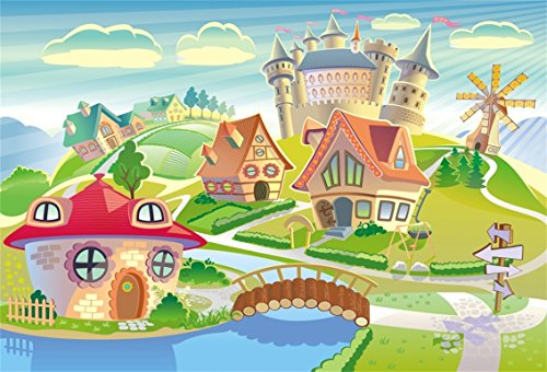 CSFOTO 7x5ft Background for Cartoon Village Landscape Photography Backdrop Wood Bridge Indicator Beautiful Town Countryside Scene Windmill Children Kid Baby Photo Studio Props Polyester (Halloween Village Background)