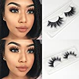 Veleasha Lashes Top Quality 3D Mink Eyelashes 100% Hand-made Natural Long Cross Fake Lashes for Makeup 1 Pair Pack (No.91)