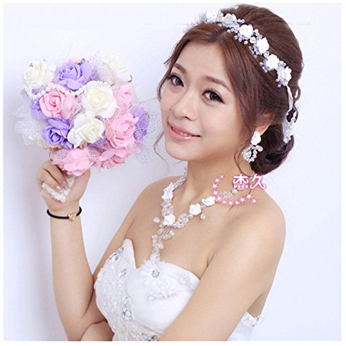 Casualfashion Bridal Handmade Luxury Crystal Rhinestone Wedding Party Hairband Hair Tiaras Ceramics Flower Headband with Lace Ribbon (Long Style (appr…