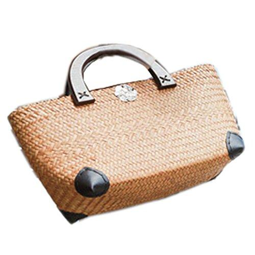 broderie de tricot portés Sacs bambou épaule main en toile paille sac sacoche à Sacs armure rotin main la à de portés main rPnTqIrg