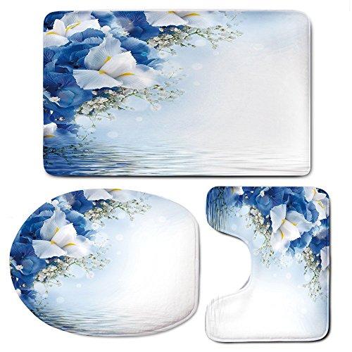 Hydrangea Dreamy (3-Piece Bath Mat Set Bath Rug Set,Light Bluefor Kitchen, Shower, and Toilet,Blue Hydrangeas and White Irises Over The Sea Romantic Bouquet Dreamy)