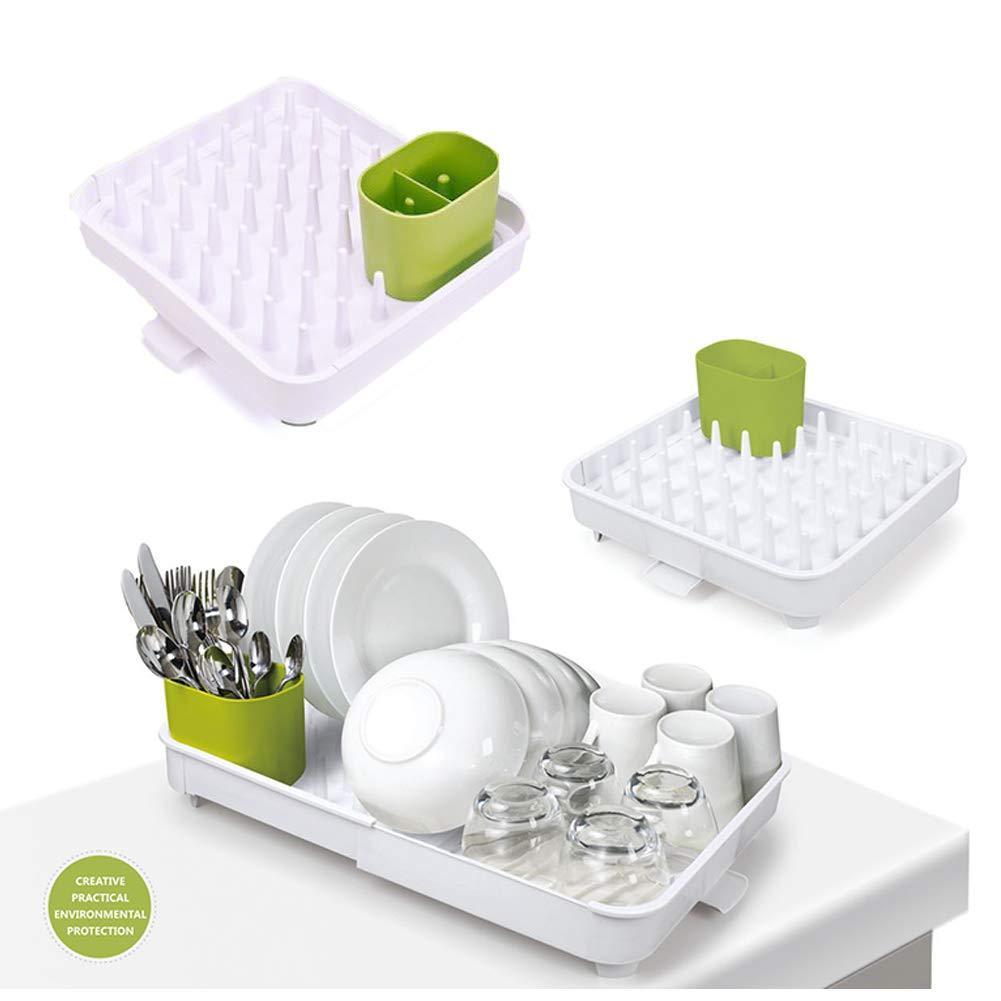 Estante para platos, plástico ligero, extensible, extensible, bandeja para platos: Amazon.es: Hogar