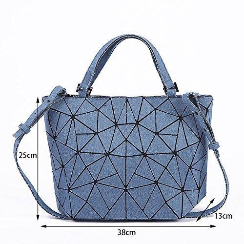 plegable de la hombro de bolsa hombro Bolso asas de de de PU de de Bolso Lingge bolsa de de la las señoras bolsa 38x13x25cm lxwxh la mensajero la la variedad de FZHLY de Blue pqBaEx